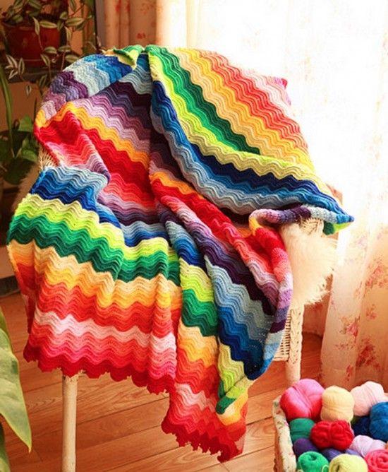 Rainbow Ripple Crochet Blanket | Frazada, Manta y Cobija