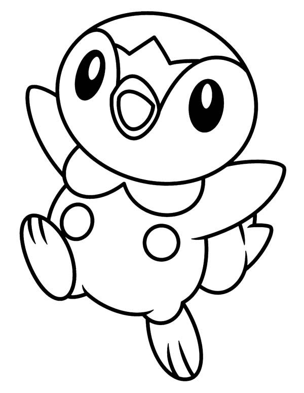 happy piplup legendary pokemon coloring page free printable