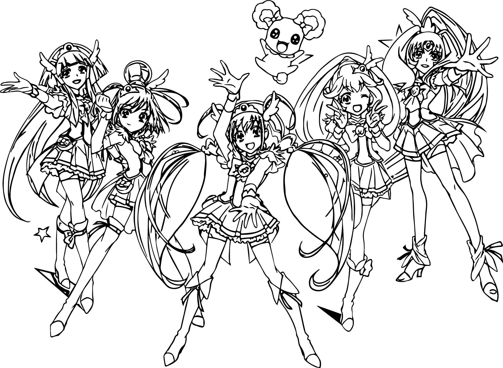 Glitter Force All Group Team Coloring Page