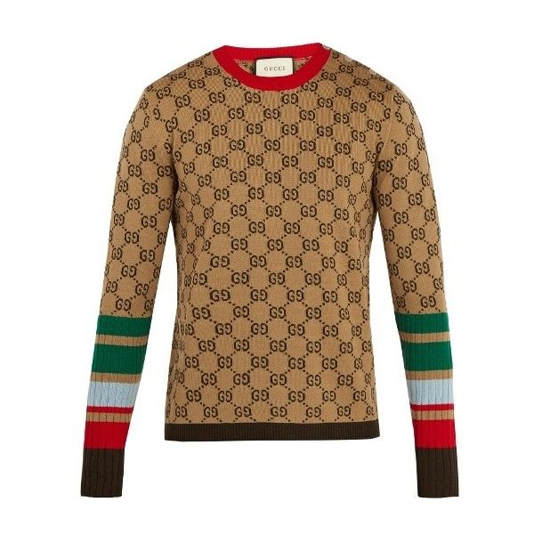 13abd7cad8a8 Gucci GG-jacquard crew-neck wool sweater ($1,170) ❤ liked on Polyvore