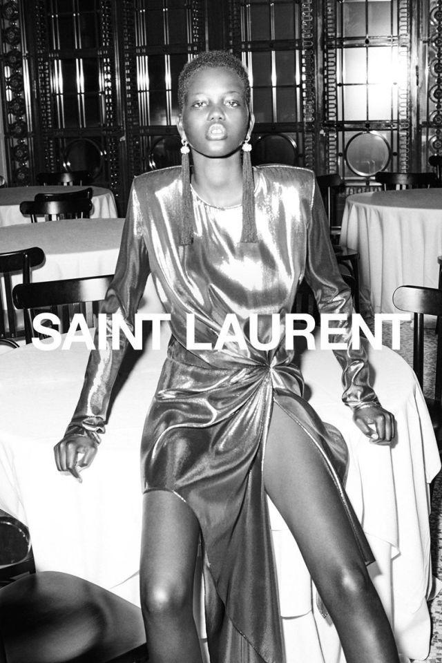 expédition de baisse modèles à la mode nouvelle version Adut Akech Bior ph Collier Schorr for Saint Laurent S/S 17 ...