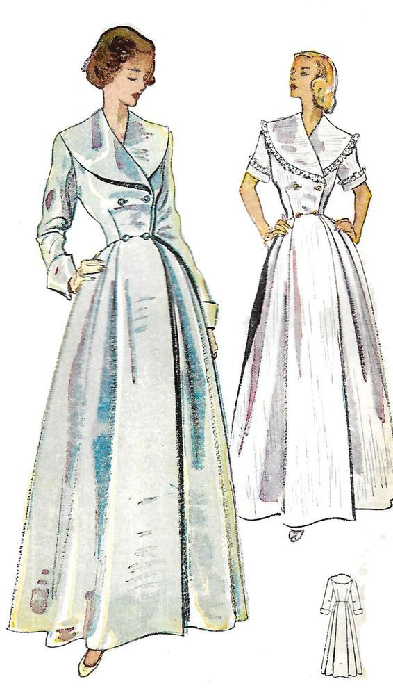 1950\'s Vintage Sewing Pattern Women\'s Dressing Gown Robe Housecoat ...