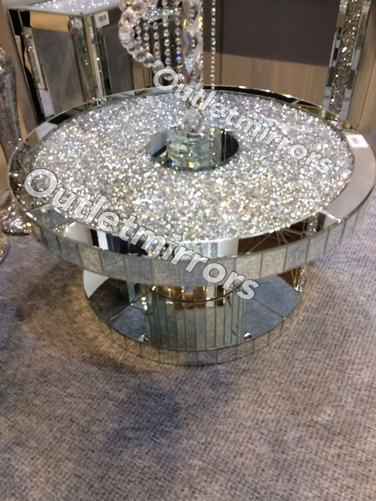 New Diamond Crush Sparkle Crystal Round Mirrored Coffee Table In