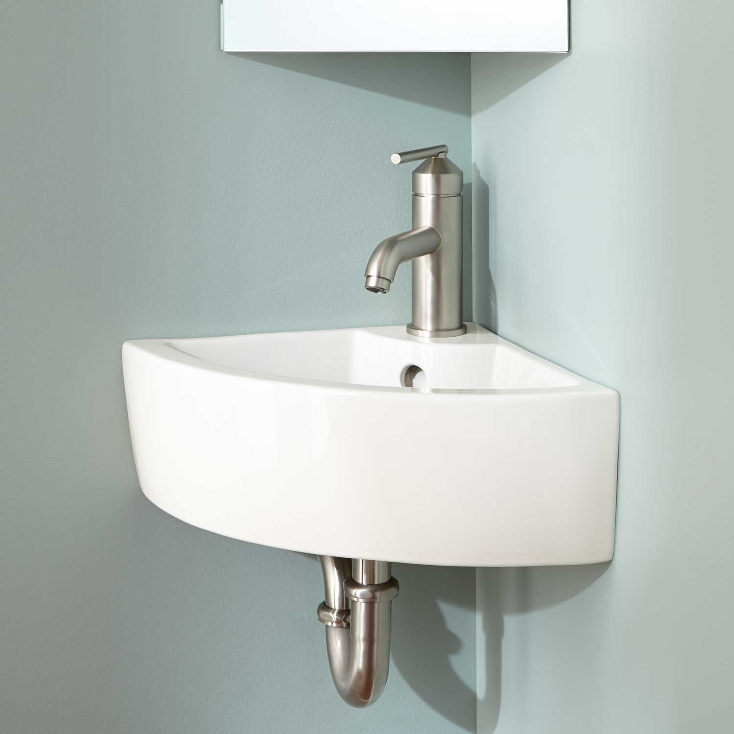 Amelda Wall Mount Corner Bathroom Sink Corner Pedestal Sink