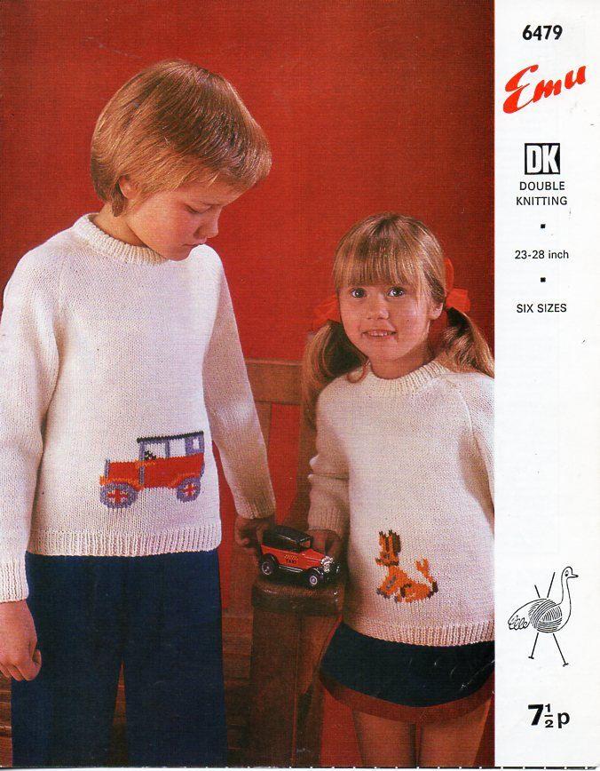 b6a17ccd7353 childs   childrens DK dog or car motif sweater knitting pattern PDF car  jumper dog jumper 23-28