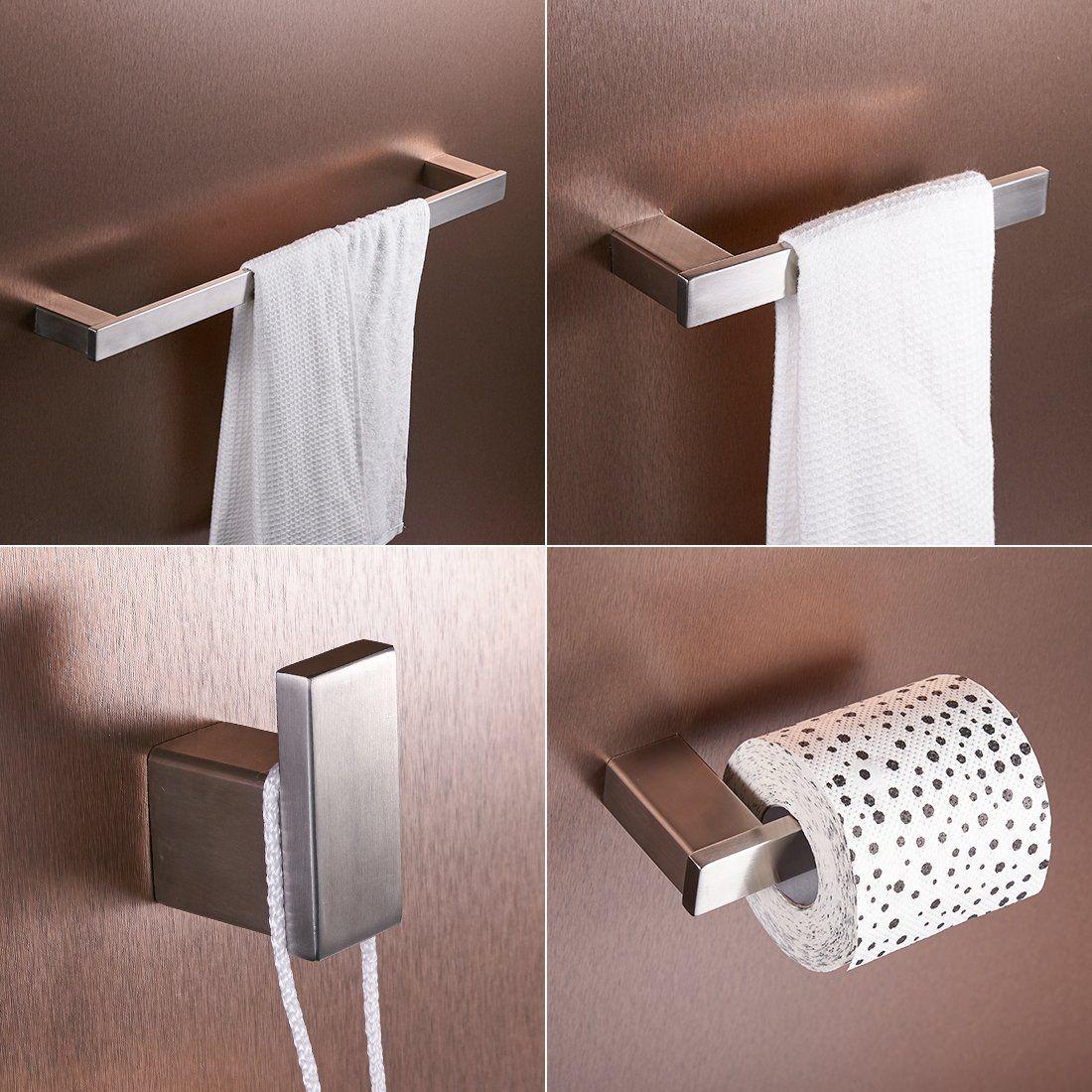 Amazon.com: FLG Wall Mount Stainless Steel 4-Piece Bathroom Hardware ...