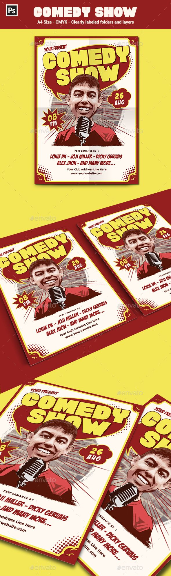 Stand Up Comedy Flyer  Poster Template  Flyer Template Template