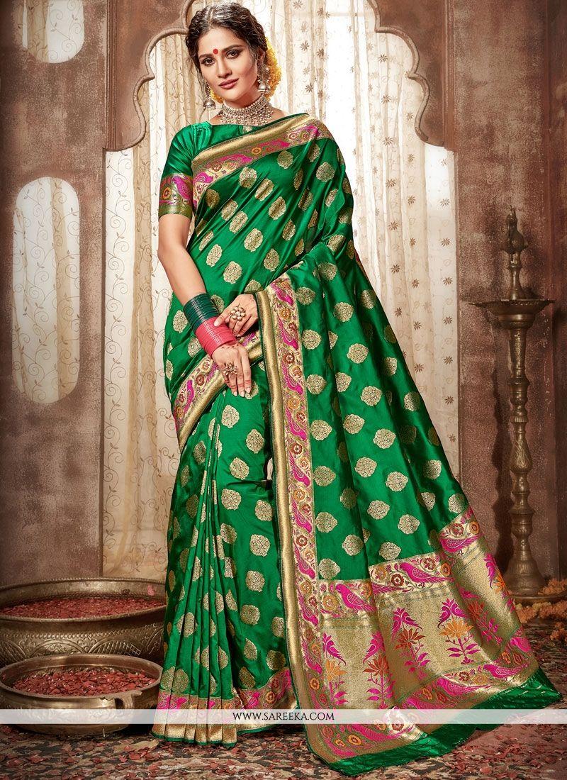 Pure silk saree 2018 green weaving work banarasi silk designer traditional saree in