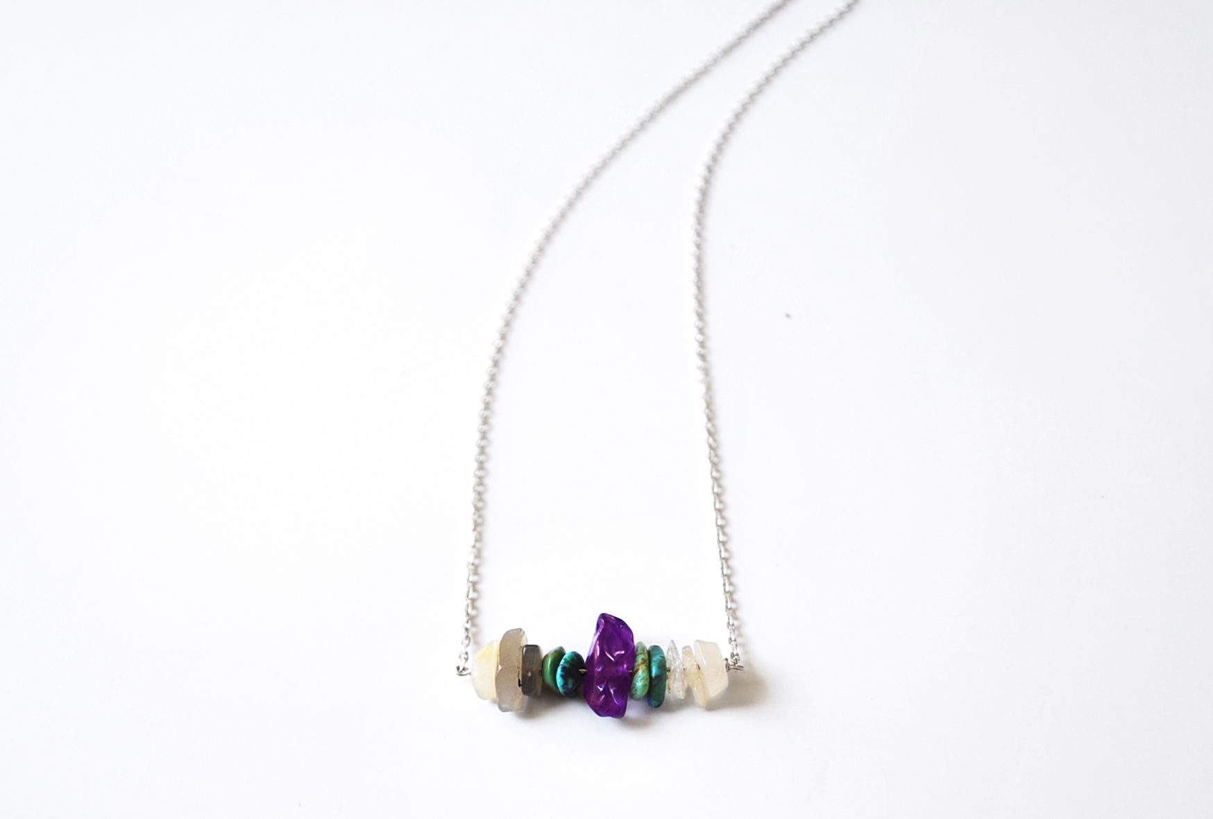 collier en argent amethyste, quartz et turquoise.  http://fr.dawanda.com/shop/elide