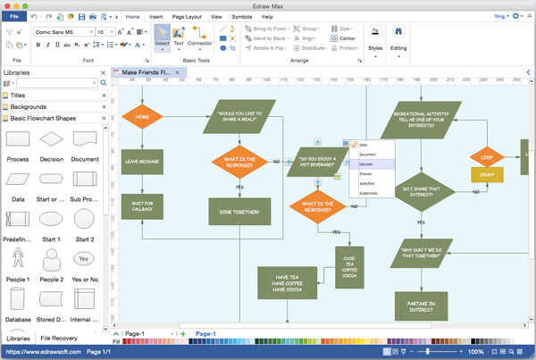 Is There A Flowchart Program That Can Be Used On Mac Similar To Visio Try This Popular Visio Alternative For Flow Chart Flow Chart Design Flow Chart Template