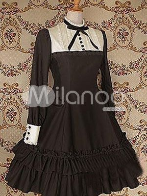 Cotton Brown Ruffles Long Sleeves School Lolita Dress $86.99     http://www.milanoo.com/Cotton-Brown-Ruffles-Long-Sleeves-School-Lolita-Dress-p13180.html