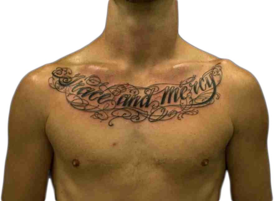 Tattoo Lettering Tattoo Ideas Store Chest Tattoo Men Tattoos For Guys Chest Tattoo