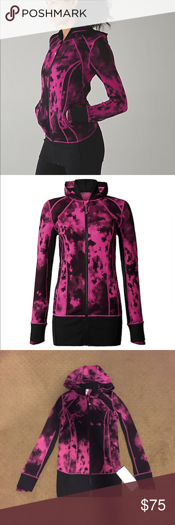 Lululemon Daily Practice Jacket Lululemon Daily Practice Jacket, Size 4, Brand New With Tags, Colors are Black and A Purple/Pink Color, Marled Print, Thick Waistband, Cheaper on Ⓜ️ercari lululemon athletica Jackets & Coats