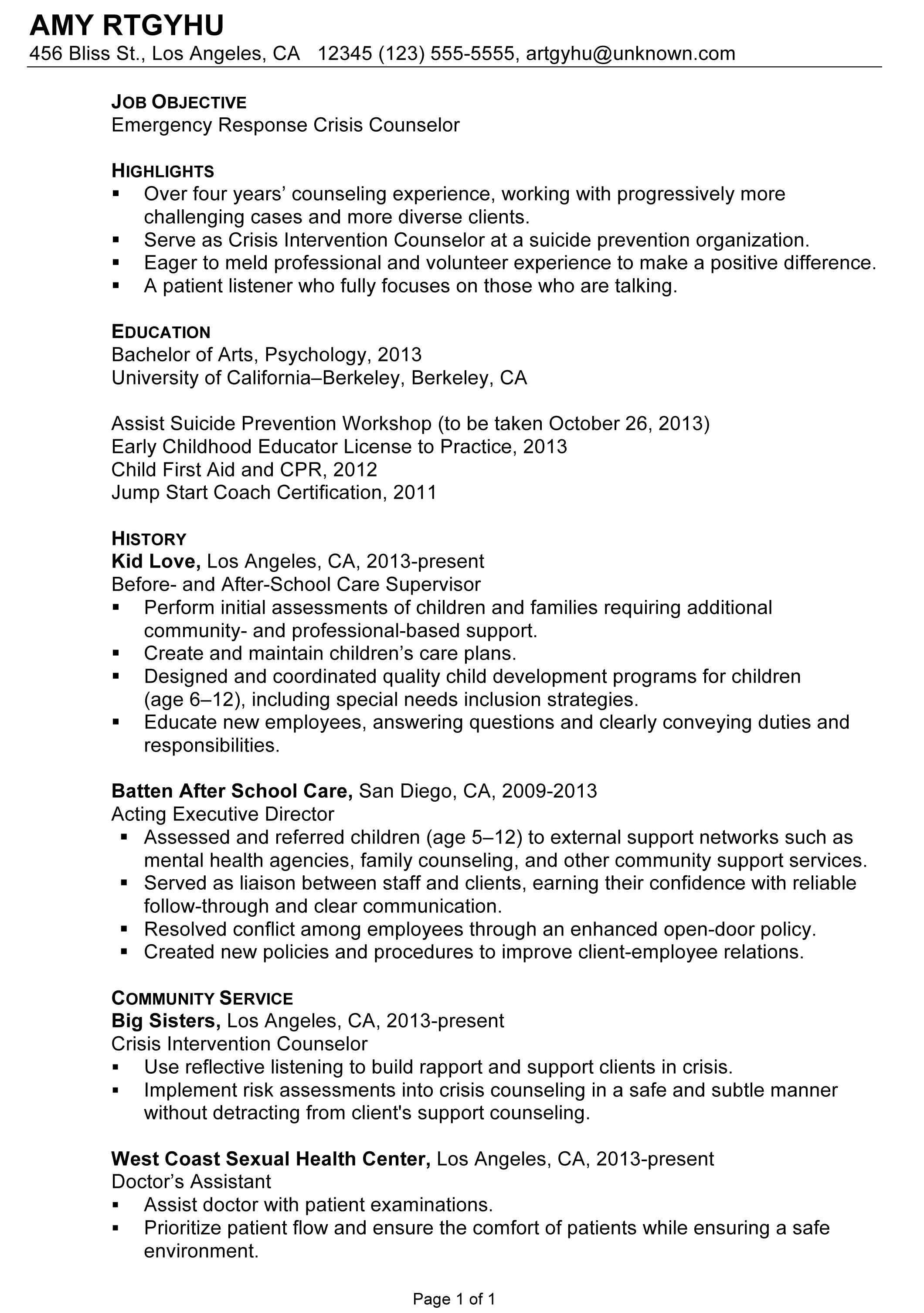 Job Objective On Resume Chronological Resume Sample Emergency Response Crisis Counselor