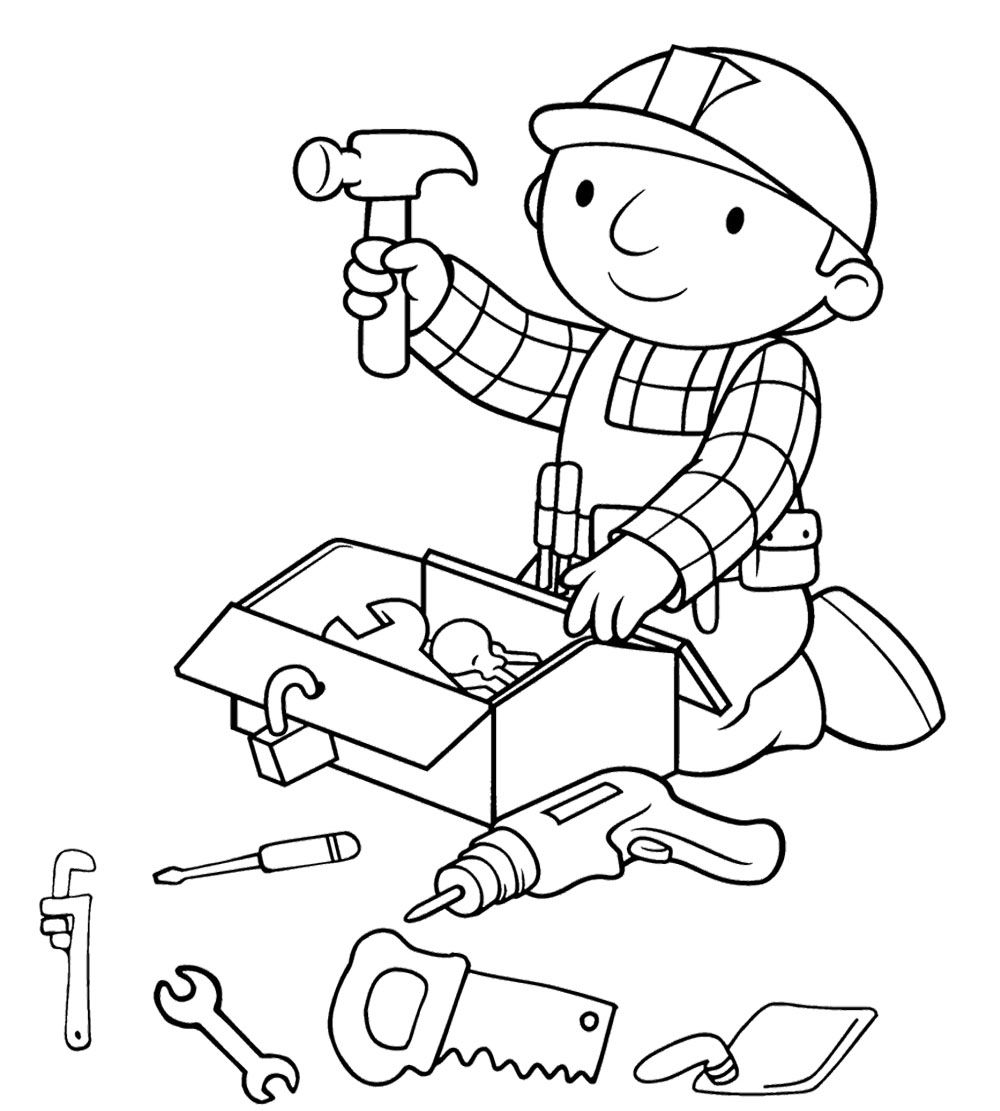 Bob The Builder Preparing Tools Coloring Page Coloring Pages