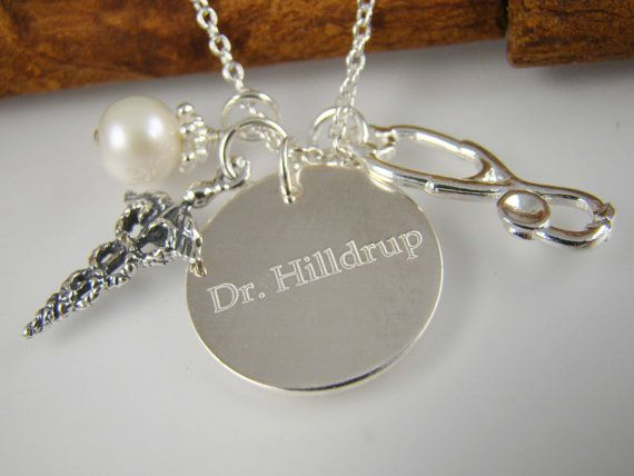 Personalized Doctor Necklace Stethoscope Charm Graduation
