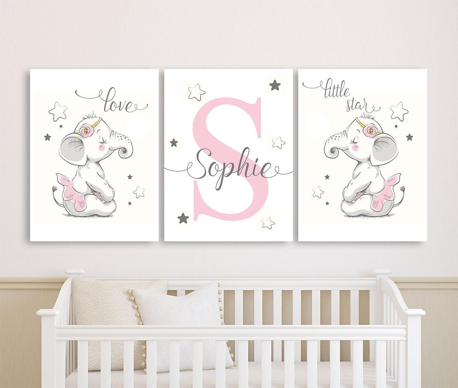 Baby Girl Nursery Wall Art Canvases Little Star Elephant Personalized Nursery Canvas Pink Gray Monogram Nursery Canvas Set Of 3 In 2021 Baby Elephant Nursery Elephant Nursery Girl Baby Girl Nursery Wall Art
