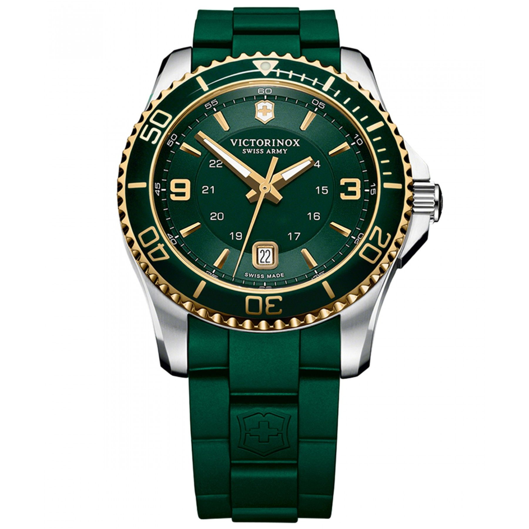 Reloj Victorinox Swiss Army de caja y bisel de acero inoxidable extensible  tipo correa de caucho fbd3f3e0ff79