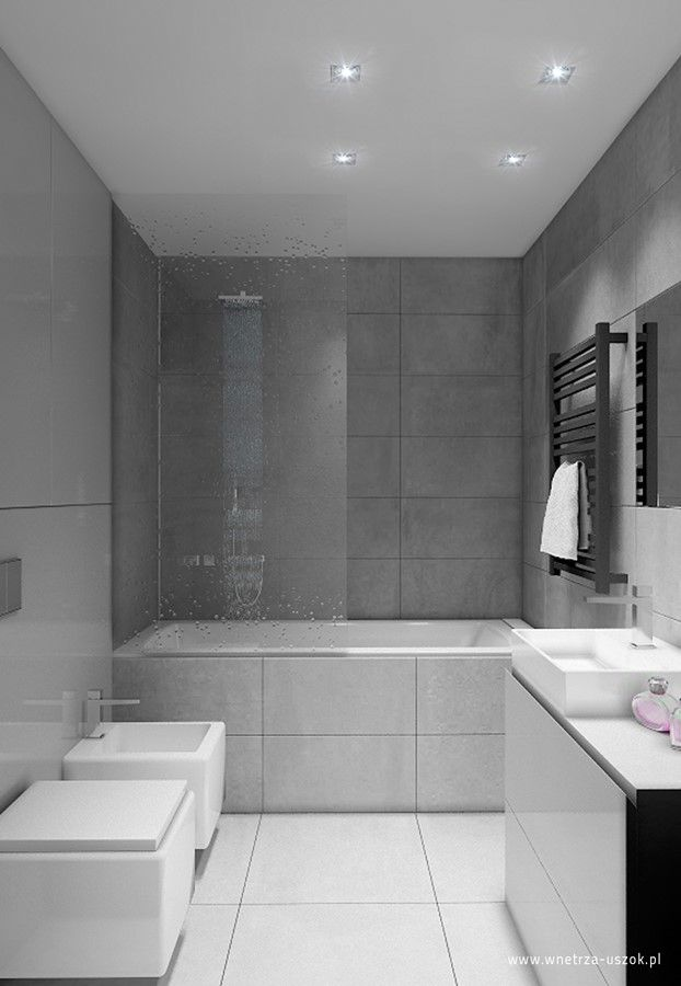 Szaro Biała łazienka Z Wanną Architektura Wnętrza