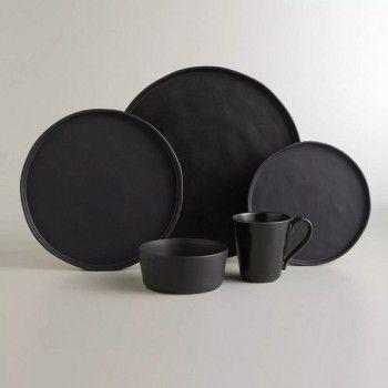 Black Organic Rimmed Dinner Plates Set Of 6 Steingut Geschirr