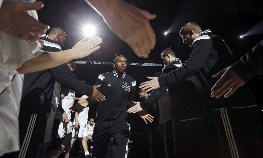 San Antonio Spurs' Kawhi Leonard is introduced before Game 6 of the first round of the Western Conference playoffs against the Los Angeles Clippers Thursday April 30, 2015 at the AT&T Center. Photo: Edward A. Ornelas, Staff / San Antonio Express-News / © 2015 San Antonio Express-News