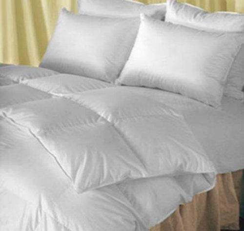 Natural Comfort Clic Heavy Fill White Goose Down Alternative Duvet Insert Comforter Queen Xl 200 Thread Count Cotton Ticking Piped Edge 4 Loops