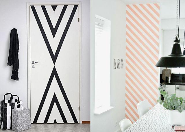 r sultat de recherche d 39 images pour peinture mur geometrique noir et blanc chambres e et c. Black Bedroom Furniture Sets. Home Design Ideas