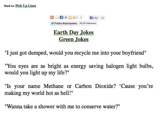 earth day pickup lines