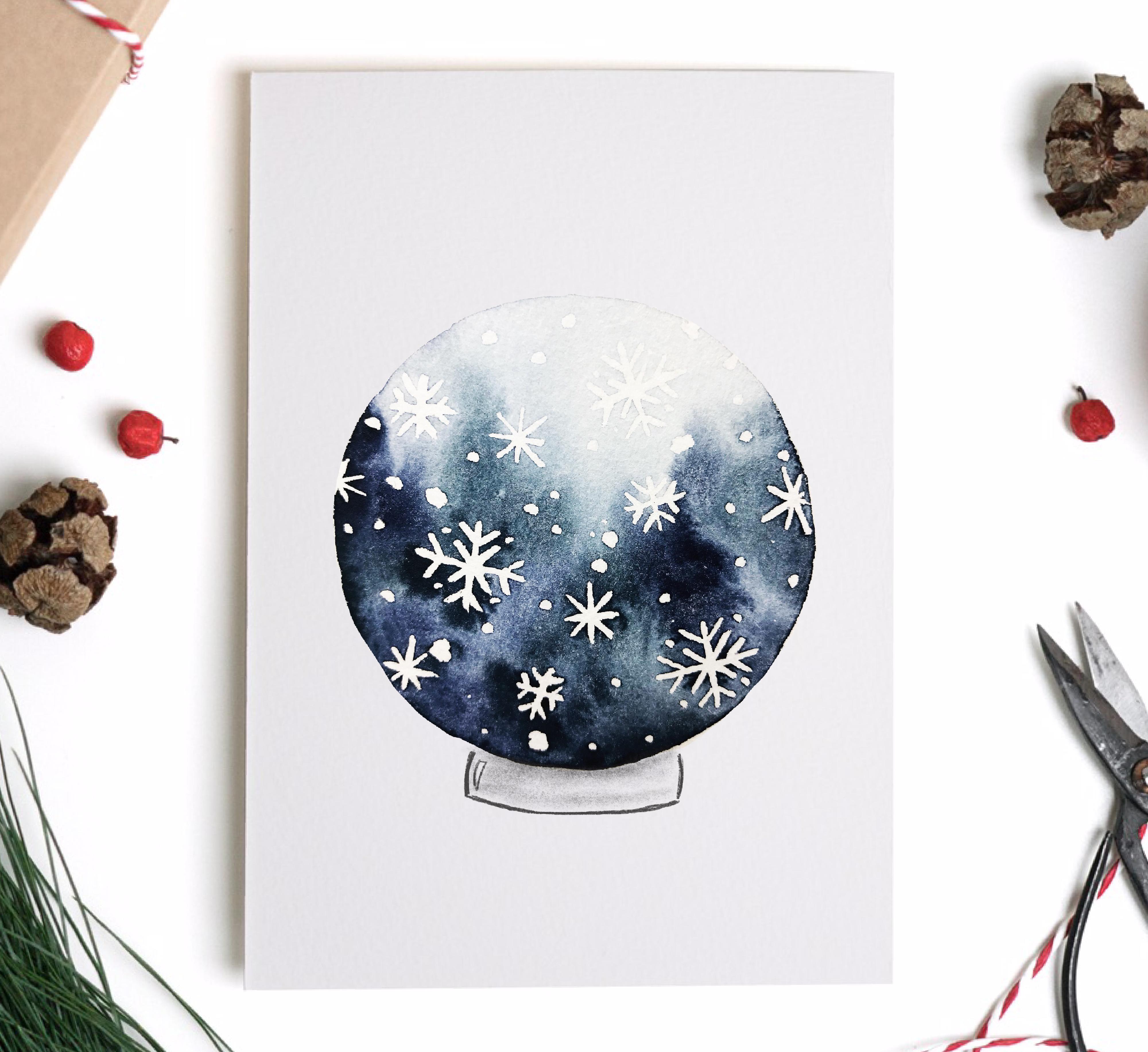 Watercolor Wasserfarben wintermotiv aquarell weihnachtskarte schneekugel schneeg…