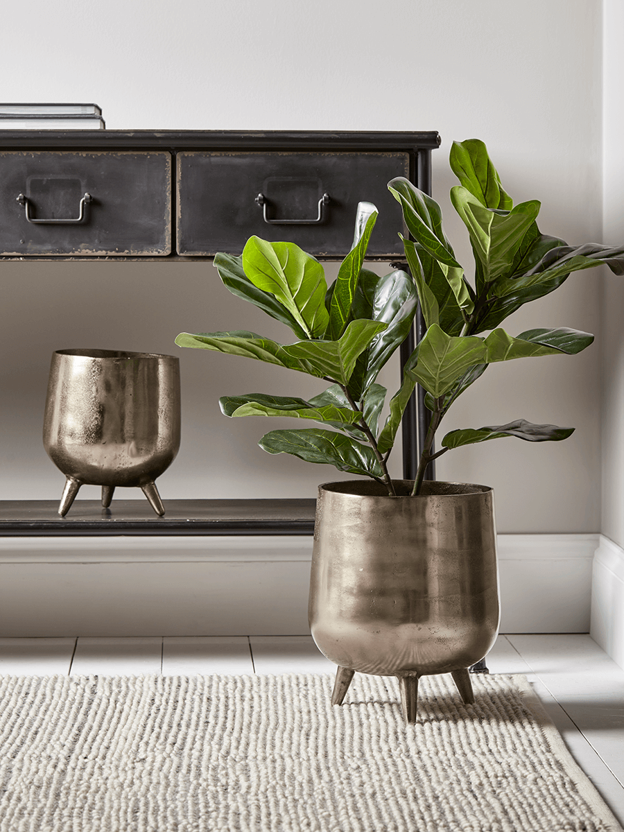 Two Brushed Gold Standing Planters Indoor Plant Pots Planters Decorative Home Accessories Luxury H Planter Pots Indoor Large Plant Pots Indoor Planters