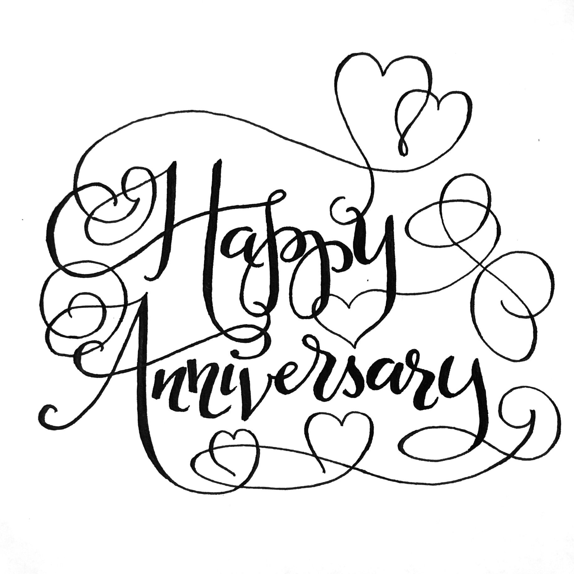 Happy Anniversary Hand Lettered Card With Flourishes Hand