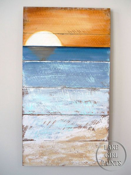 How to Paint Beach Art | Basteln mit holz, Selbermachen diy und Altholz