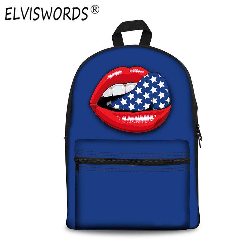 28cb2e015d Bag · ELVISWORDS Tongue Printing Mochila Feminina Summer Lips 3d Fashion  Backpack ...