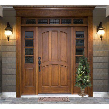 4ft Porch Tree With Holiday Decor Walmart Com Main Door Design Wooden Front Doors Beautiful Front Doors