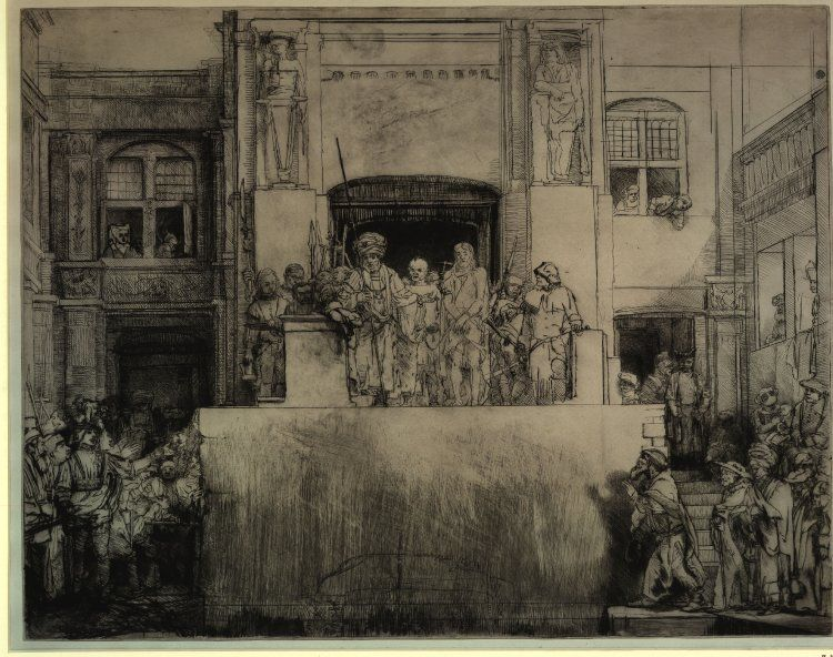 Rembrandt Christ Shown to the People -- another version (etching) -- process....