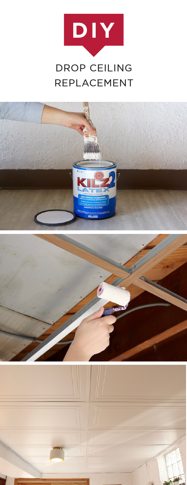 Diy drop ceiling replacement basements ceiling and primer are you sick and tired of looking at your outdated drop ceiling check out this dailygadgetfo Images