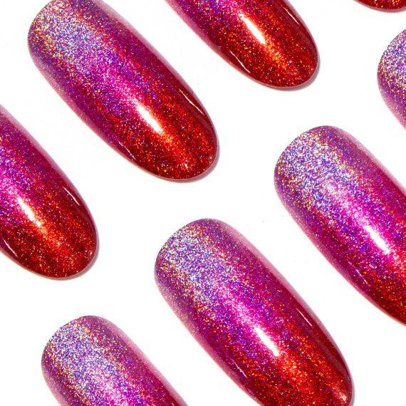 Fake Nails Pink - Holographic Glue On Nails - Long Press On Nails ...