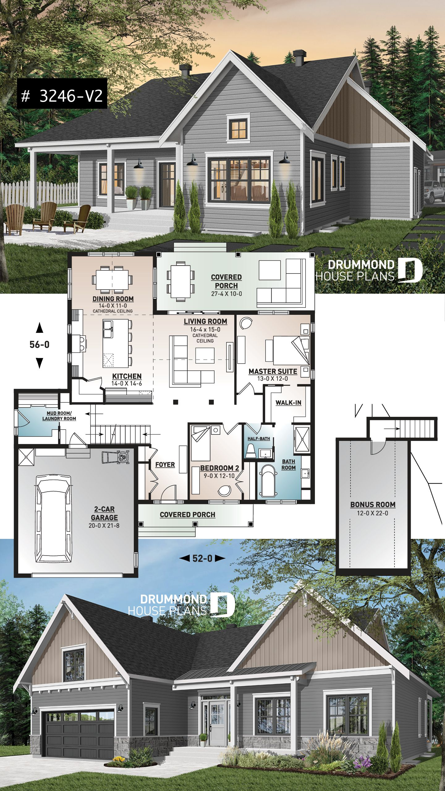 Discover The Plan 3246 V2 Jennifer Which Will Please You For Its 2 Bedrooms And For Its Country Styles Basement House Plans Drummond House Plans Ranch House Plans