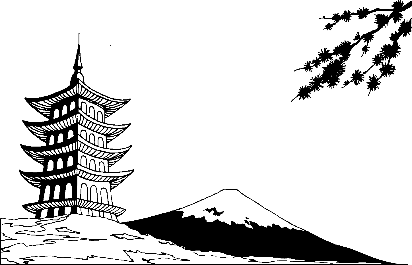 japanese gallery for asian black and white clip art [ 1448 x 933 Pixel ]
