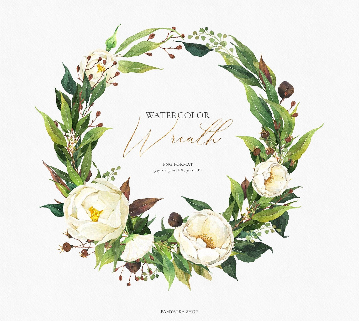 Greenery Wreath Clipart Floral Wreath White Flowers Etsy Floral Wreath Watercolor Wreath Watercolor Floral Watercolor
