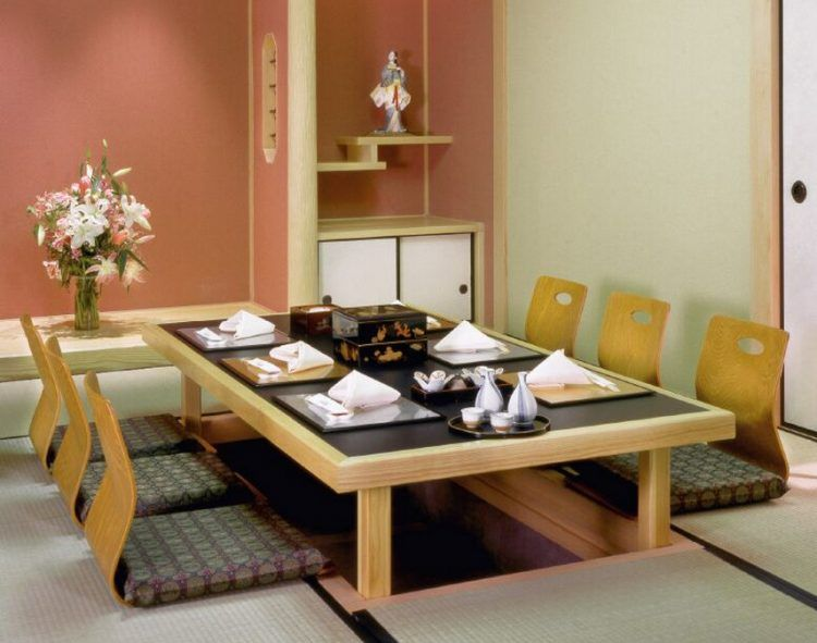 Beautiful Low Japanese Dining Room Table