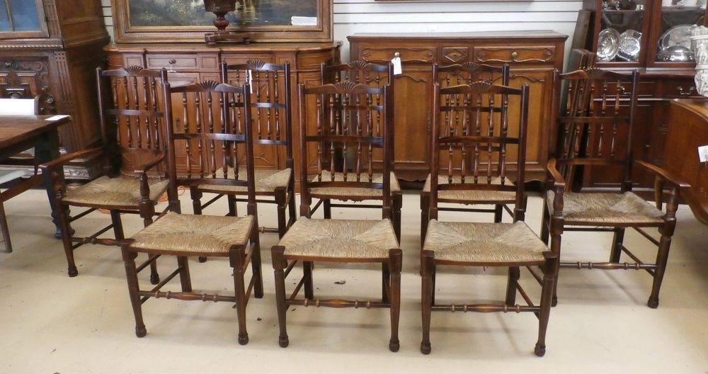 8 Antique Farm House French Provincial Carved Turned Oak Rush Bottom Chairs