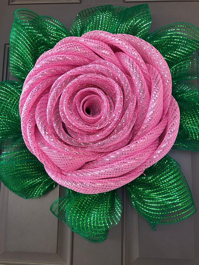 Photo of Pink Rose Deco Mesh Wreath, Mother's Day Flower Wall Hanging, Kats Creations 777, Porch Decor
