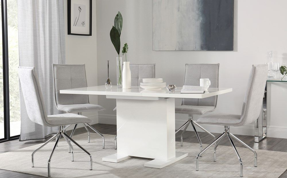 Osaka White High Gloss Extending Dining Table With 4 Soho Dove Grey Dining Chairs Fabric Dining Chairs Gray Dining Chairs Extendable Dining Table