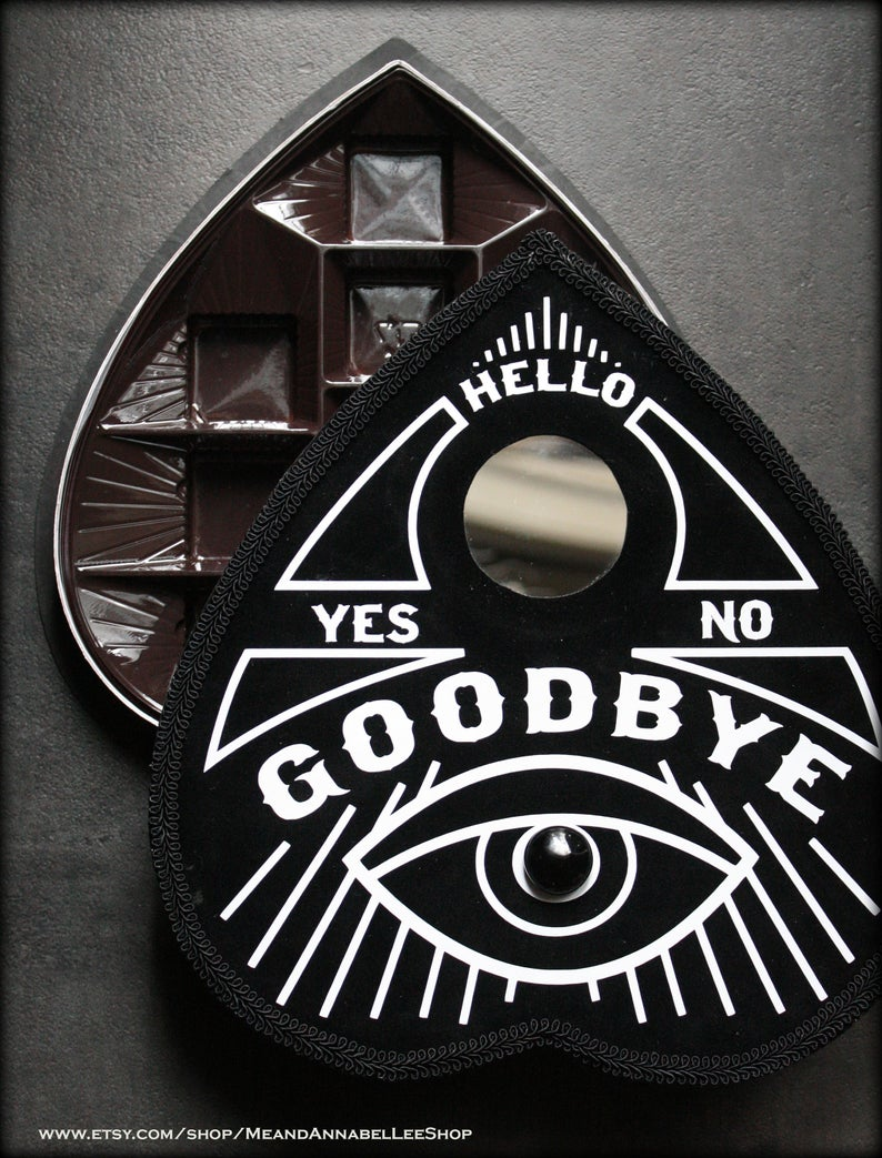 Ouija Board Planchette Heart Shaped Box Black Spirit Board Etsy Heart Shape Box Heart Shaped Chocolate Box Ouija Board