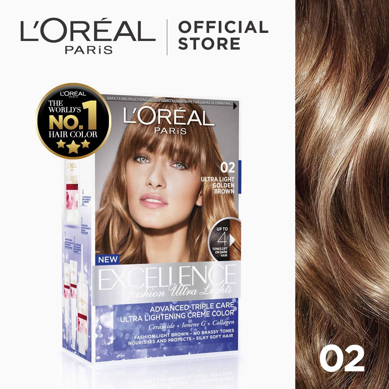 L Oreal Paris Excellence Fashion Ultra Lights Hair Color Golden Brown 02 World S No 1 In 2020 Light Hair Color Loreal Paris Hair Color
