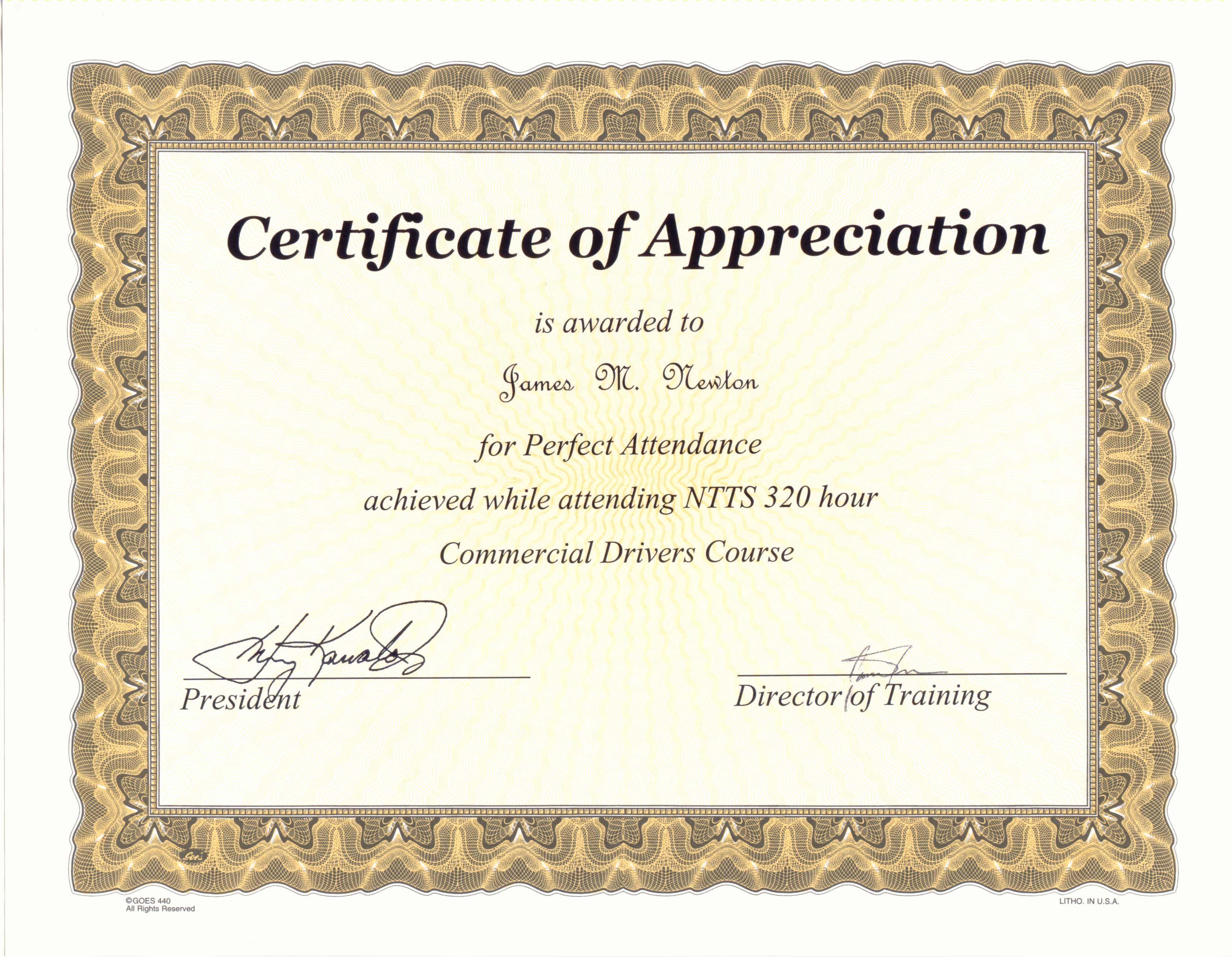 Perfect Attendance Award Certificate Template – Attendance Certificate Template