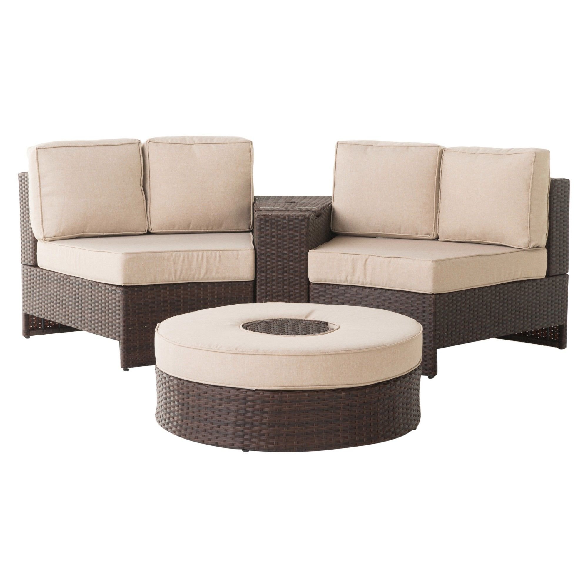 Brilliant Madras Ibiza 4Pc Wicker 1 2 Round Seating Set With Ice Home Interior And Landscaping Mentranervesignezvosmurscom