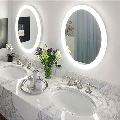 Round led lighted wall mount vanity bathroom mirror sol - Round mirror over bathroom vanity ...
