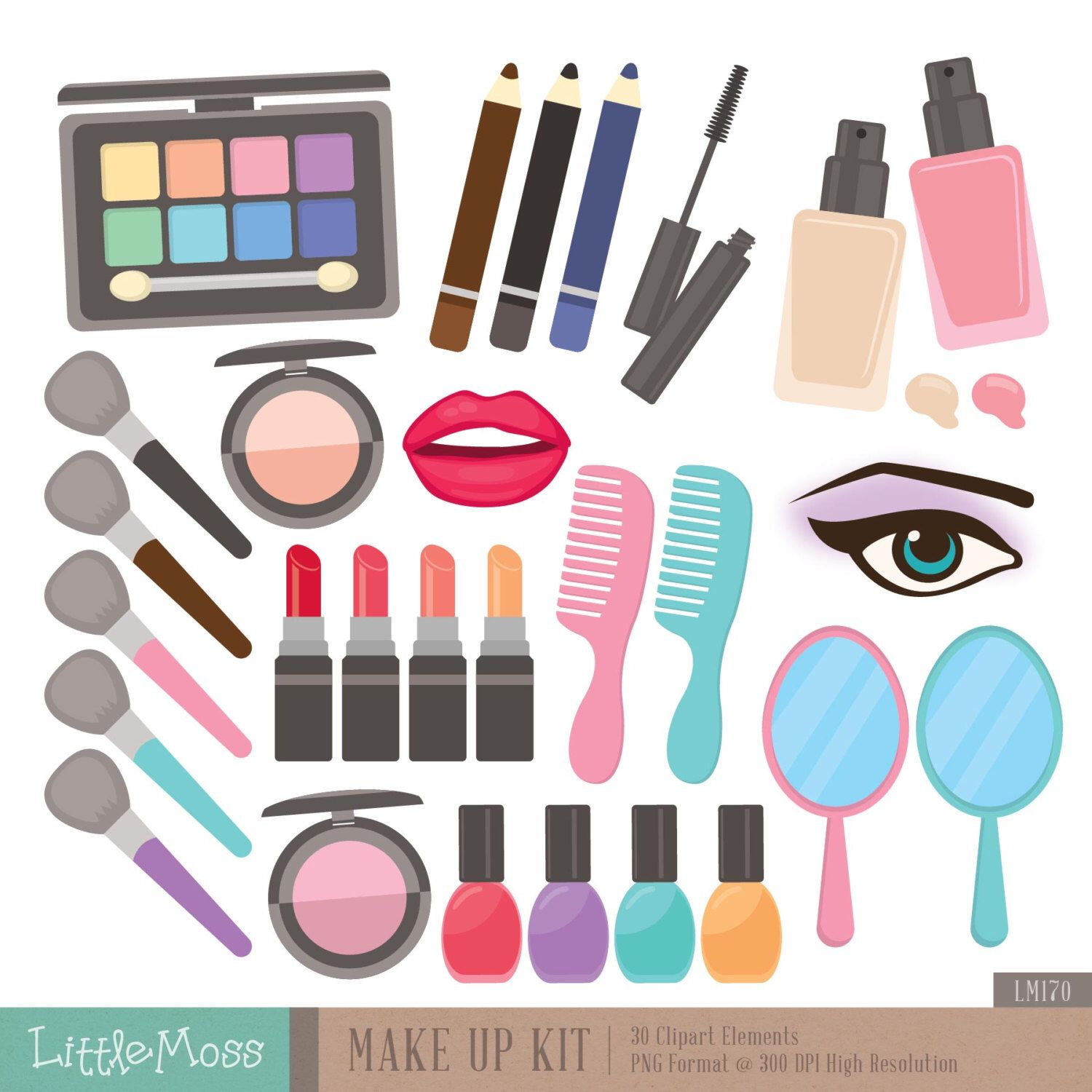Make Up Kit Digital Clipart, Cosmetic Clipart Clip art